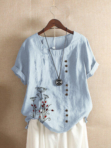 Vintage Floral Embroidery T-shirt