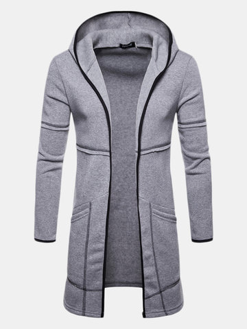 Mens Casual Mid Long Solid Color Hoodie