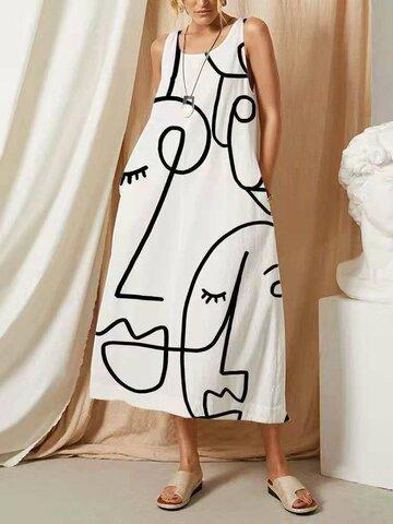 Абстракция Шаблон Карман с круглым вырезом Платье