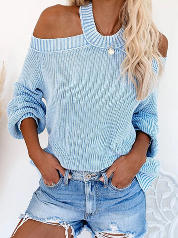 Solid Color Halter Knitting Sweater