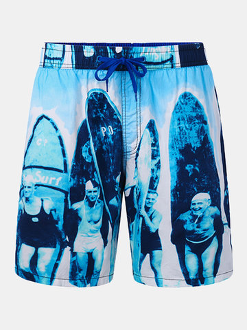 Casual Sport Printing Loose Breathable Board Shorts for Men