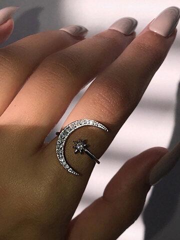 Star Moon Finger Ring