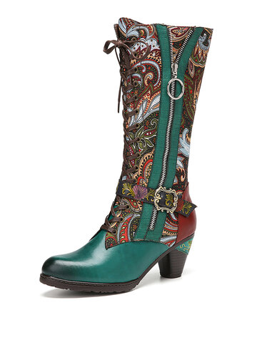 Retro Flowers Cloth Splicing Genuine Leather Boots