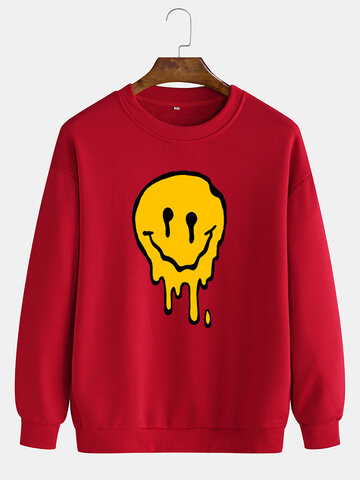 Funny Smile Face Chest Print Sweatshirts