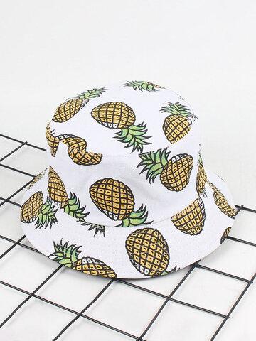 Women Banana Pineapple Printed Bucket Hats