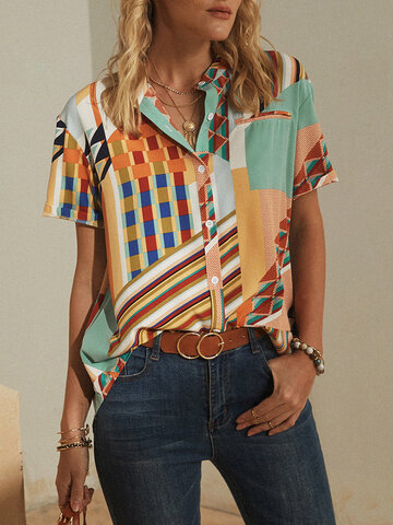 Striped Geometric Printed Stand Collar Short Sleeve Button Blouse