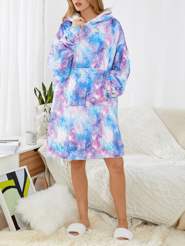 Cozy Starry Sky Print Two-Sided Wearable Blanket