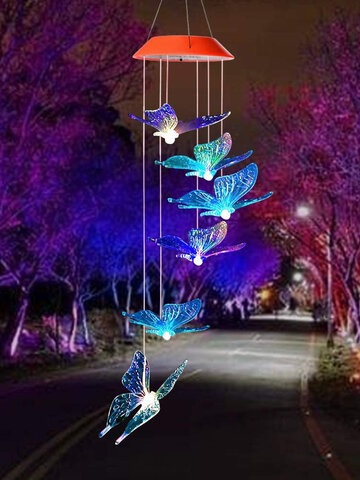 1PC LED Solar Power Butterfly Wind Chime Color Changing Night Light Lamp Home Garden Yard Decoration