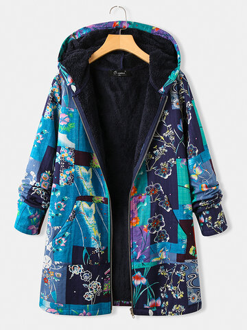Vintage Floral Print Fleece Plus Size Hooded Coat with Pockets