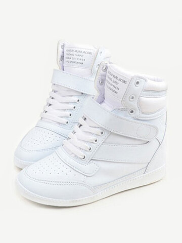 Bianco Gancio Loop Lace Heel Highing High Top Casual Scarpe sportive