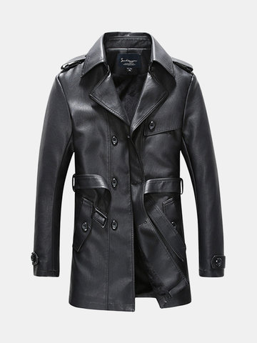 Mens Fashion Faux Leather Trench Coat фото