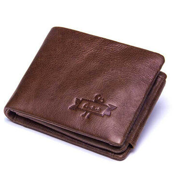Men Trifold Cow Genuine Leather Short Wallet 4 Card Slot