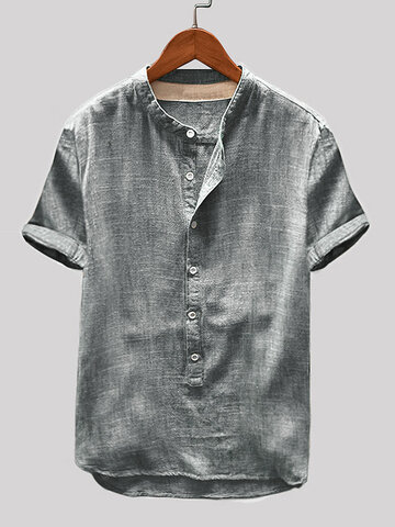 Cotton Linen Vintage Solid Casual Henley Shirt
