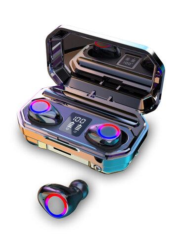 2020 9D HiFi Bluetooth 5.0CVC8.0ノイズリダクションステレオワイヤレスTWSBluetoothヘッドセットLEDディスプレイヘッドセットパワーバンクチャグリングケース付き防水デュアルヘッドフォン(モノラルバージョン100/800 / 1500mAhまたはLedバイノーラルバージョン3000mAh)