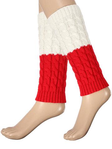 Femmes tricotées cuissardes jambières chaussettes botte d'hiver chaussettes à manchette courte