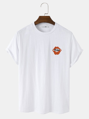 Embroidered Red Lips T-Shirts