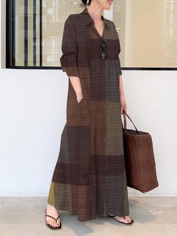 Plaid Stand Collar Pocket Dress