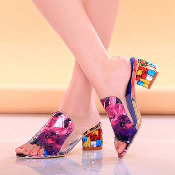 Colorful Crystal Heel Transparent Slippers