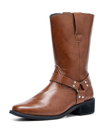 Comfy Square Toe Chunky Heel Harness boots