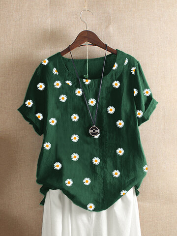 Gänseblümchen-T-Shirt mit Blumendruck