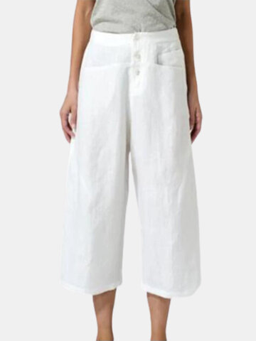 Casual Button Fly Cropped Pants