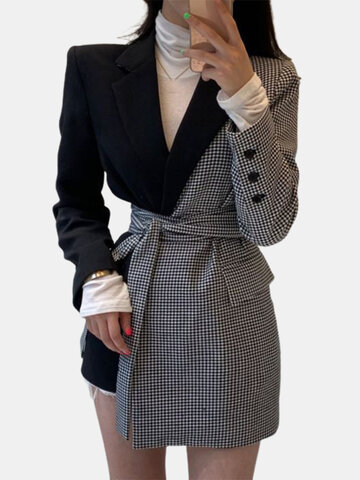 Plaid Asymmetrical Patchwork Blazer