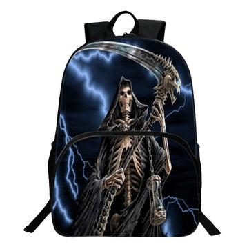 Flame Skeleton 3D Shoulder Bag Backpack Children Polyester School Bag