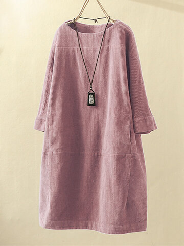 Corduroy Solid Color Dress
