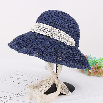 Women Summer Elegant Floppy Beach Straw Hat Wide Brim UV Protection Bucket Cap, Khaki coffee