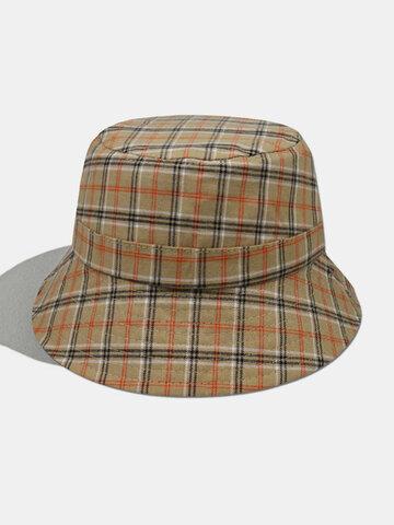 Women & Men Plaid Pattern Retro Style Bucket Hat