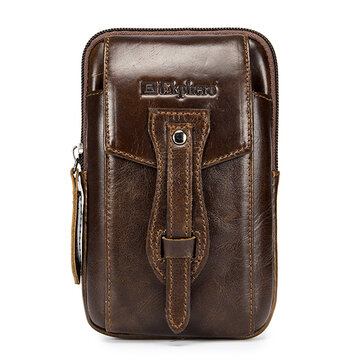 EKPHERO Vintage Leather Business Casual Waist Bag Phone Bag