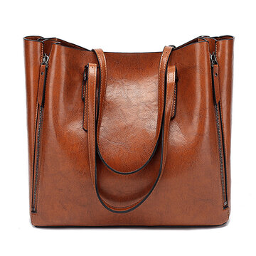 Women Solid Large Capacity Leisure Handbag