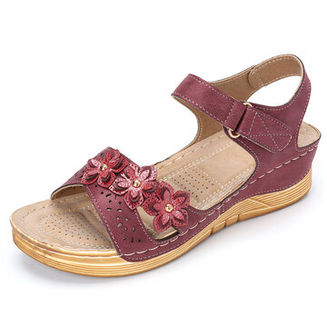 Women Stricing Flowers Decor Comfy Wearable Casual Wedges Sandals