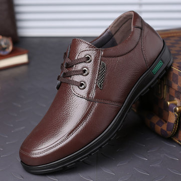 Men Cow Leather Lace Up Casual Shoes