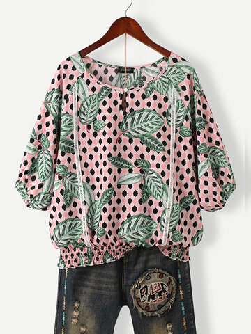 Leaves Print Elastic Hem Blouse