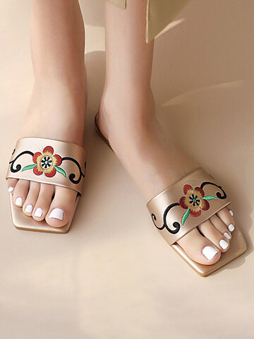 Squared Toe Embroidered Flower Slides Slippers