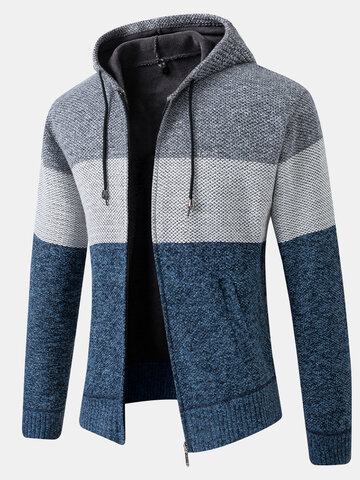 Patchwork Zip Up Hooded Cardigans
