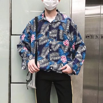 Ins Super Floral Shirt Retro Port Wind Chic Long Sleeve Loose Beach Holiday Wei Yi Flower Shirt Male Tide