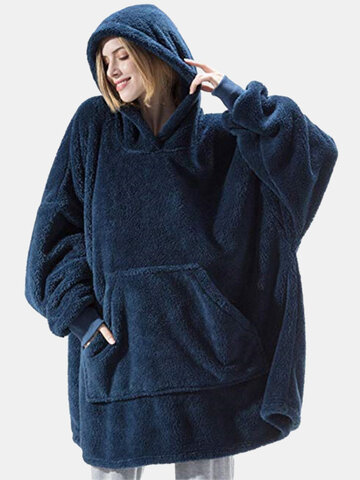 Double Plush Oversized Wearable Blanket Hoodie