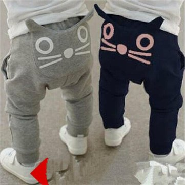 Cat Printed Baby Boys Long Pants For 0-24M