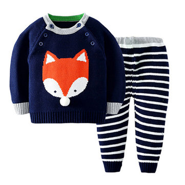 Baby 2Pcs Striped Knit Sweater Set For 1-4Y