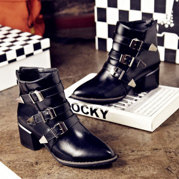 Pointed Toe Buckle Zipper Ankle Boots