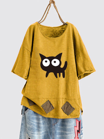 T-Shirt Casual Cute Cat stampata