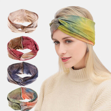 Bohemian Style Elastic Sports Hair Band Tie Dye Bandana Headband