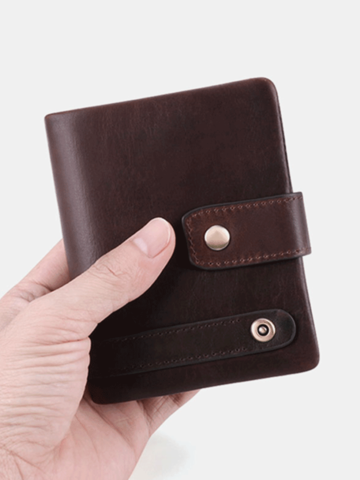 RFID Genuine Leather Anti-theft Multi-card Slots Retro Coin Wallet Foldable Card Holder Wallet