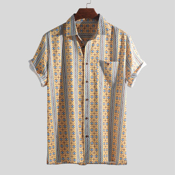 Mens Floral Stripe Short Sleeve Shirts