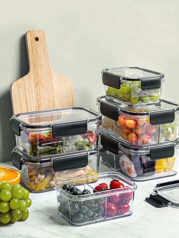 1PC 2/3 Grid Multifunctional Large Capacity Transparent Fresh-Keeping Sealed Kitchen Flavouring Refrigerator Fruit Vegetable Storage Box Separated Lunch Box Set