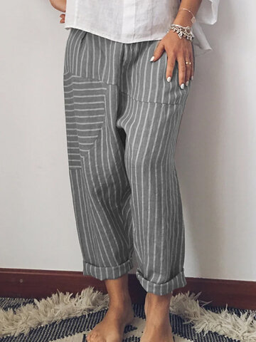 newchic / Striped Patchwork Elastic Waist Casual Pants