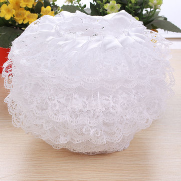 5m 2-layer Pleated Organza Lace Edge Trim Gathered Mesh Ribbon Sewing White DIY Handmade