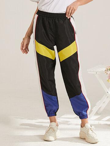Color Contrast Patchwork Casual Sports Pants